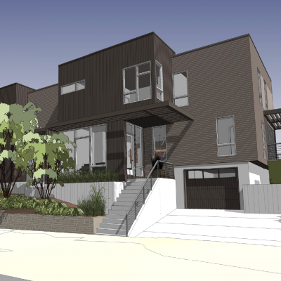 Current Schematic Design for a Duplex on a sloped lot.